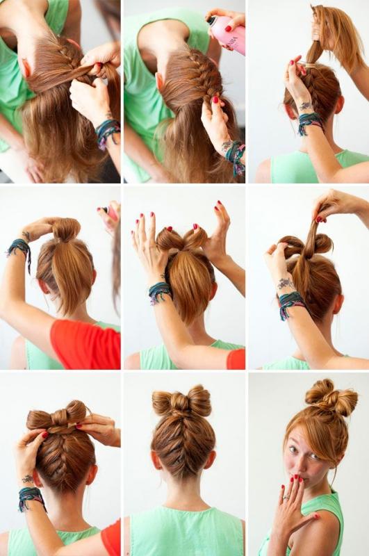 бантик из волос с косичкой