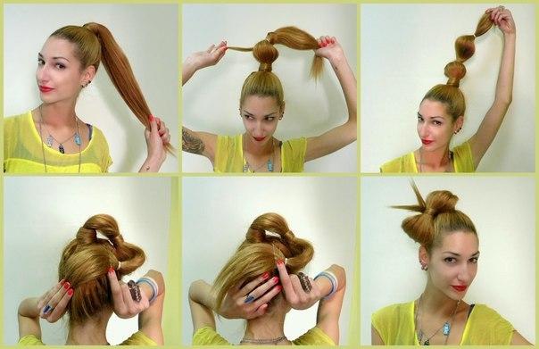 Прическа бант на длинные волосы своими руками