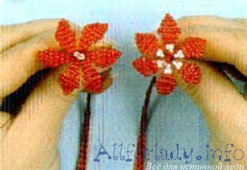 цветы бисерные плетем