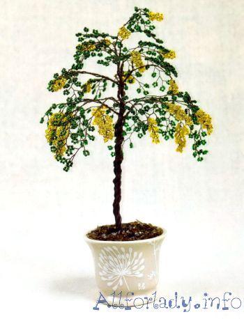 Плетем бисерные необычные деревца