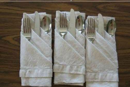 Салфетка для столовых приборов своими руками