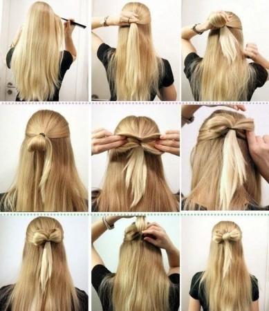 как сделать бантик из волос с распущенными локонами