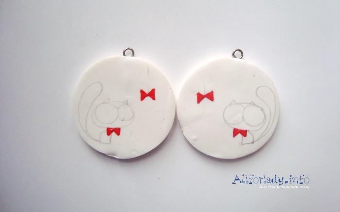 круглые серьги коты из полимерной глины инструкция