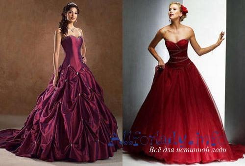 Бордовые платья пышные
