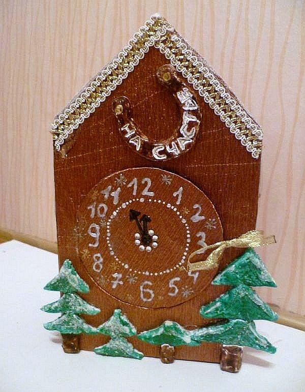 Новогодние игрушка часы своими руками