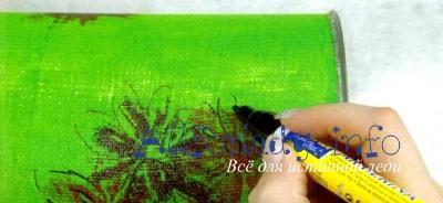Нарисуйте черенок, листочки