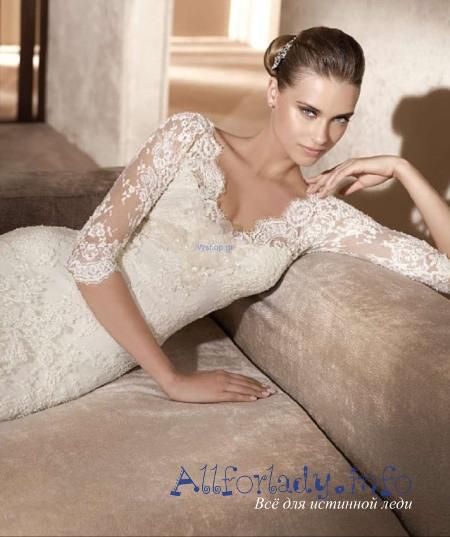 Изобр по > Свадебное Платье с Кружевными Плечами