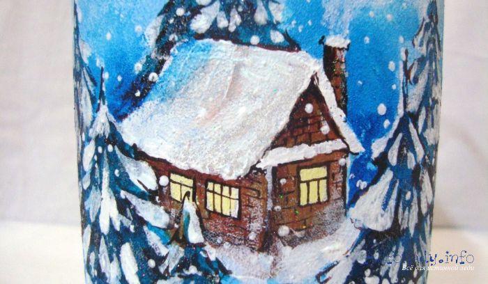 Роспись по стеклу акриловыми красками бутыли  «Снежный домик». Пошаговый мастер–класс с фото