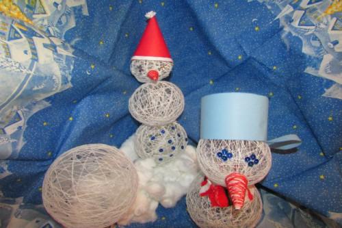 Снеговик своими руками из ниток
