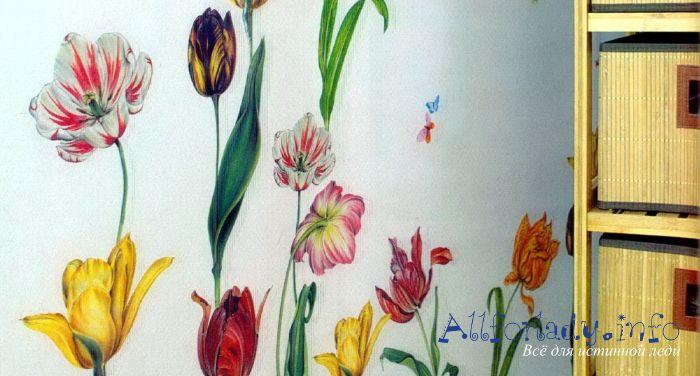 Объемный декупаж стен «Тюльпаны». Мастер класс с фото
