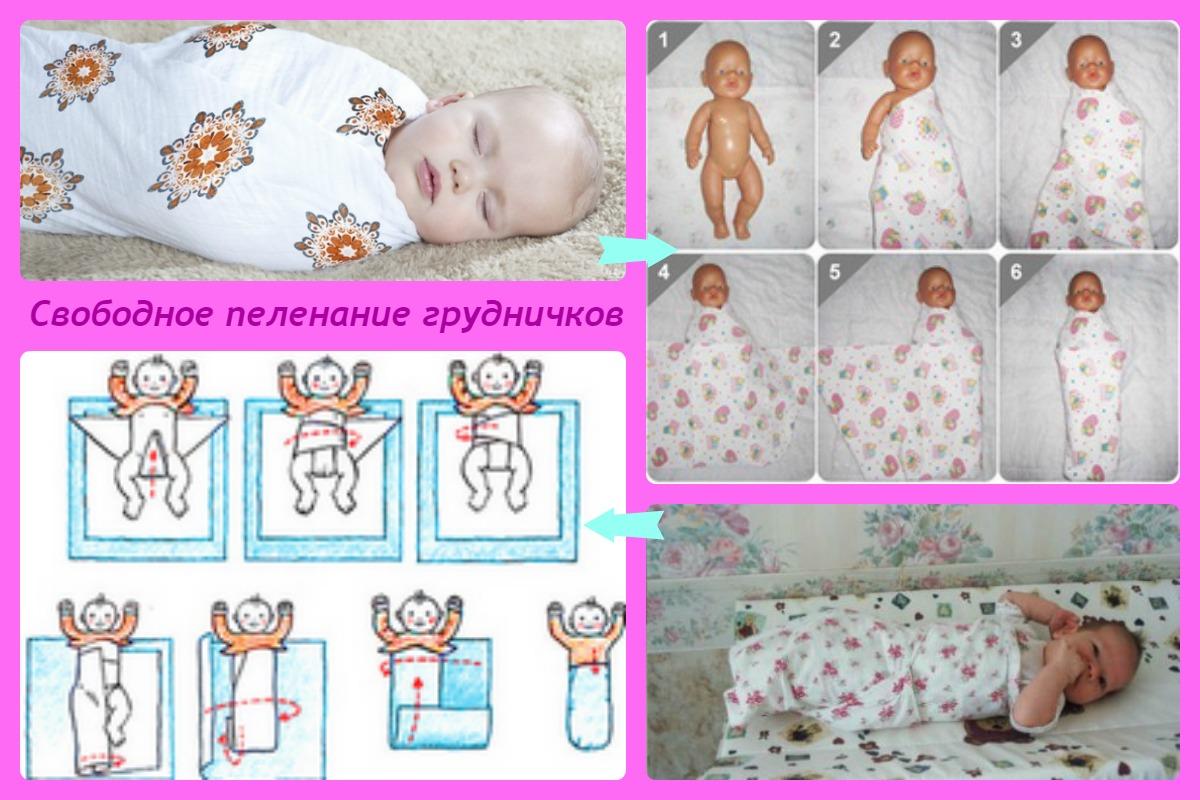 Свободное пеленание новорожденного в картинках