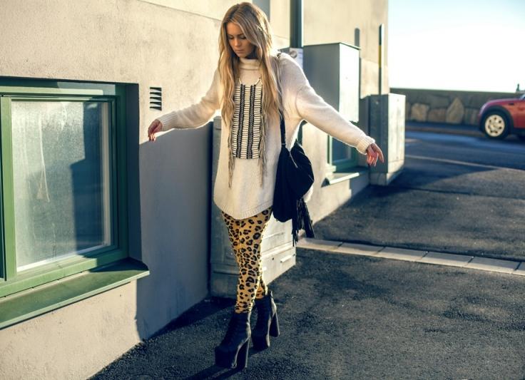 с чем носить леопардовые лосины