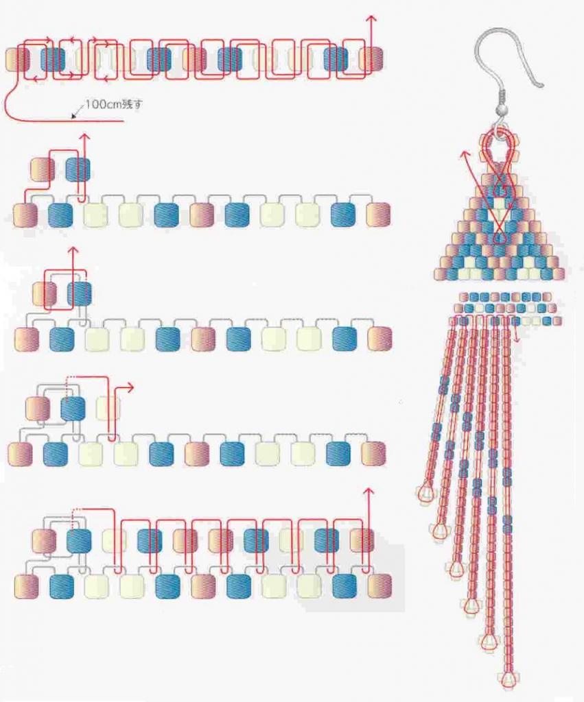 Как сделать серьги из бисера схемы
