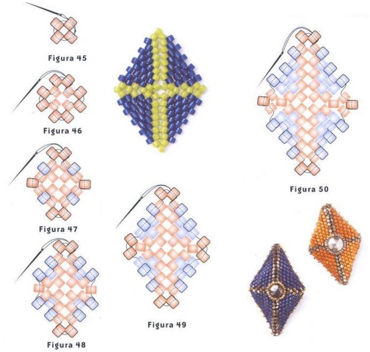 схема ромбообразных сережек из бисера