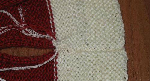 новогодний носок вязаный